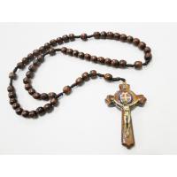 1139 - Terço de Madeira Grande Pescoço com Cruz de São Bento 8 mm